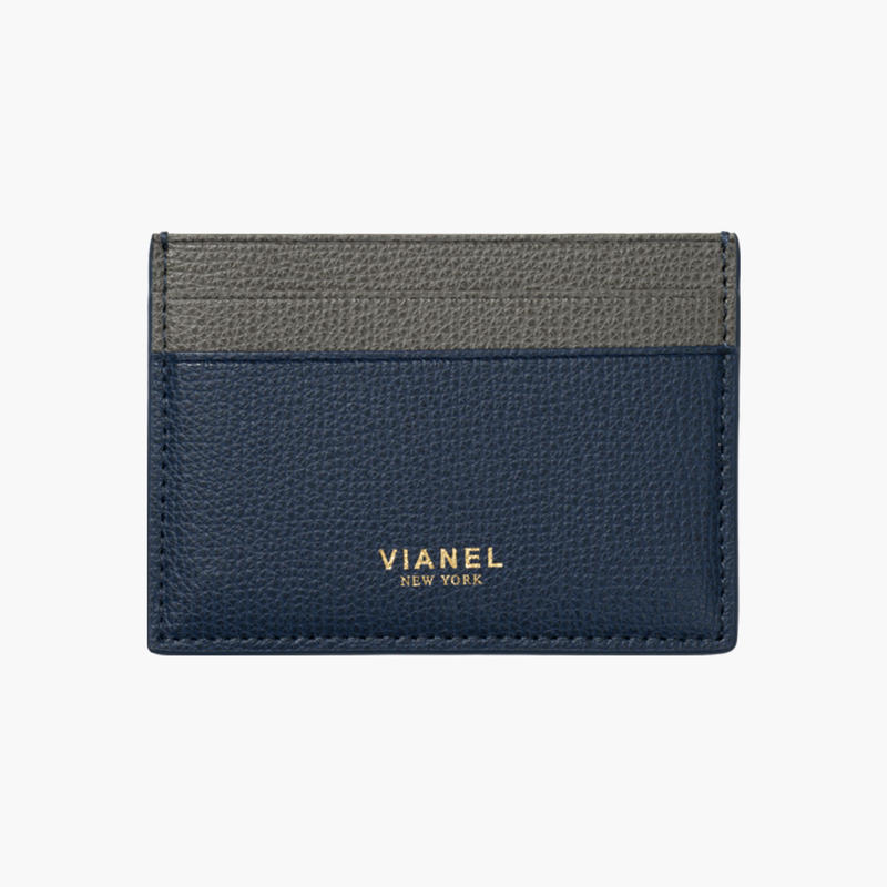 VIANEL NEW YORK /  V3 CARD HOLDER - Carfskin Navy / Grey