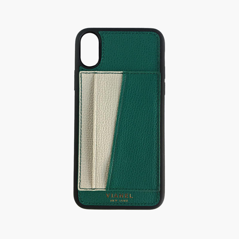 VIANEL NEW YORK / Flex iPhone X/XS Case - Calfskin Avocado / Crème
