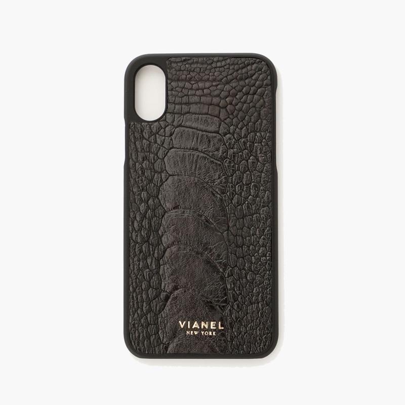 VIANEL NEW YORK iPhone Xs/X Case - OSTRICH BLACK