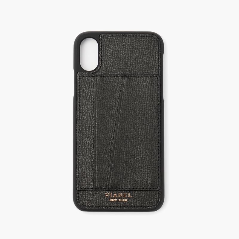 VIANEL NEW YORK Card Holder iPhone Xs/X Case - CALFSKIN BLACK