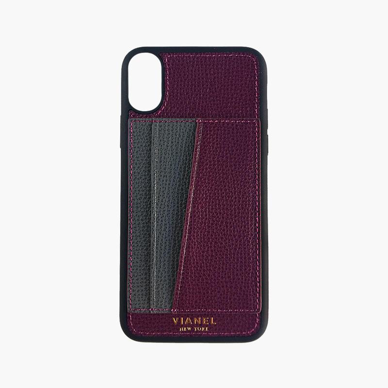 VIANEL NEW YORK / iPhone X/XS Flex Case - Calfskin Oxblood / Grey