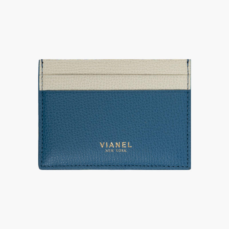 VIANEL NEW YORK /  V3 CARD HOLDER - Carfskin Blue / Crème