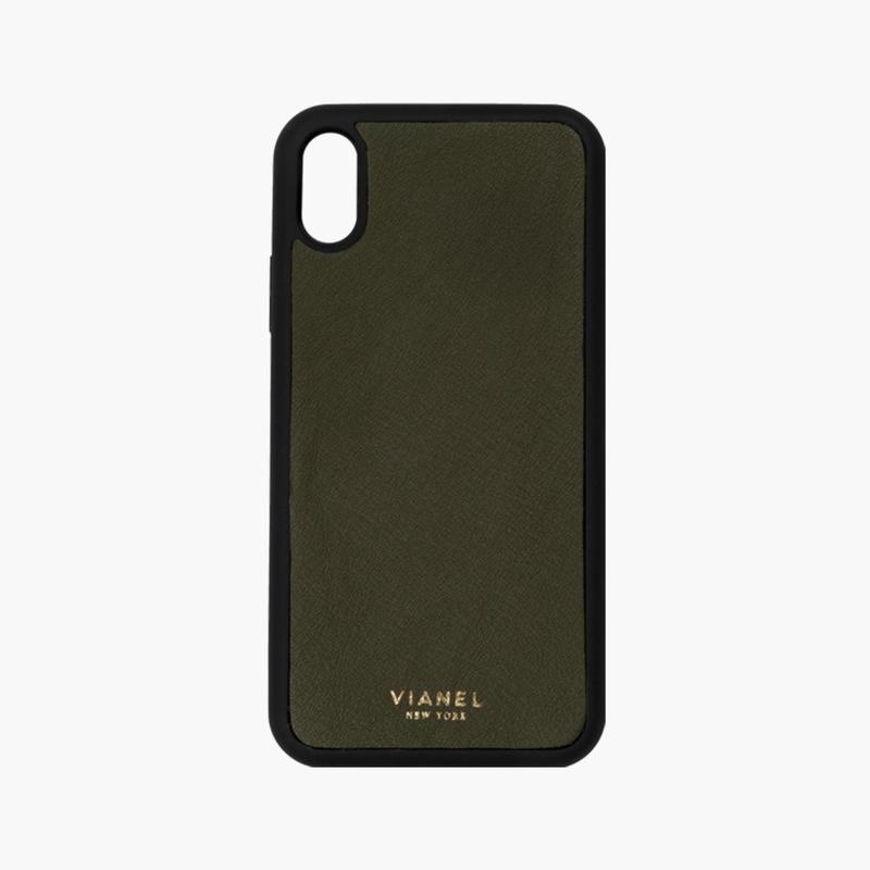 VIANEL NEW YORK / Flex iPhone Xs/X Case  - Calfskin Military Green