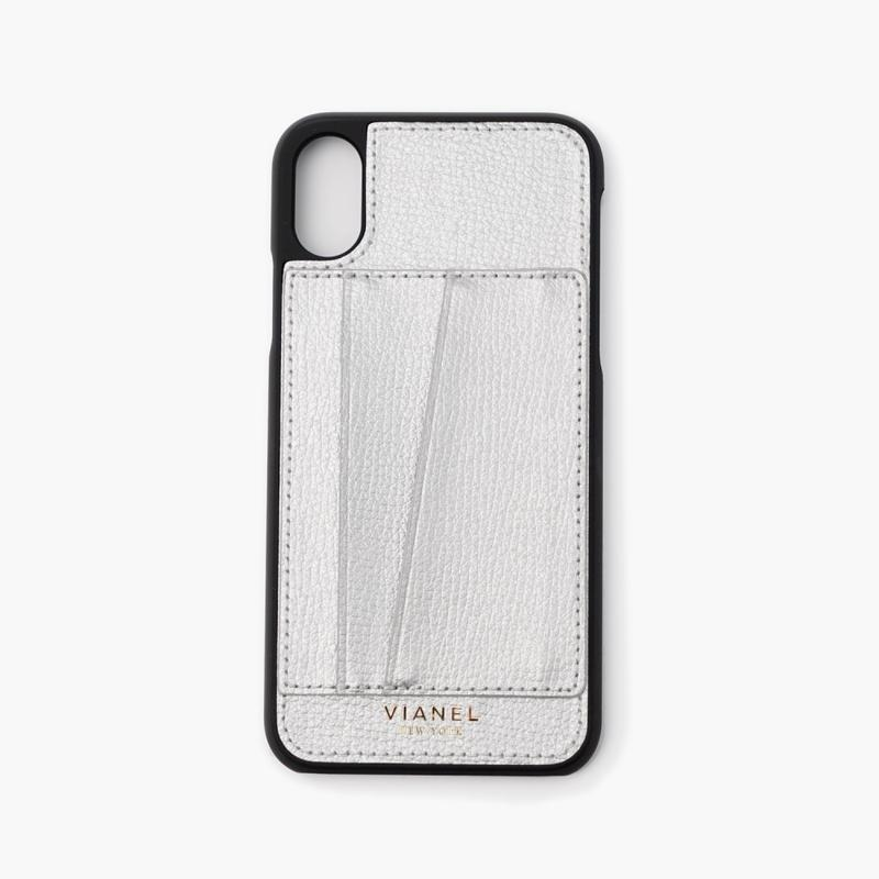 VIANEL NEW YORK Card Holder iPhone Xs/X Case - CASE CALFSKIN SILVER