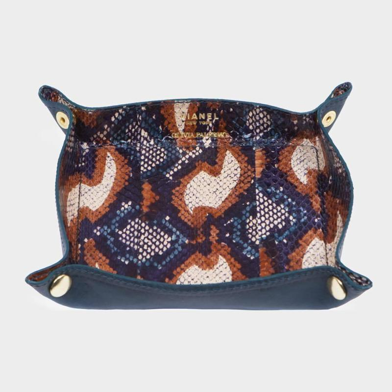 VIANEL NEW YORK LEATHER TRAY - SNAKE TEAL WITH CAMEL (OLIVIA PALERMO)
