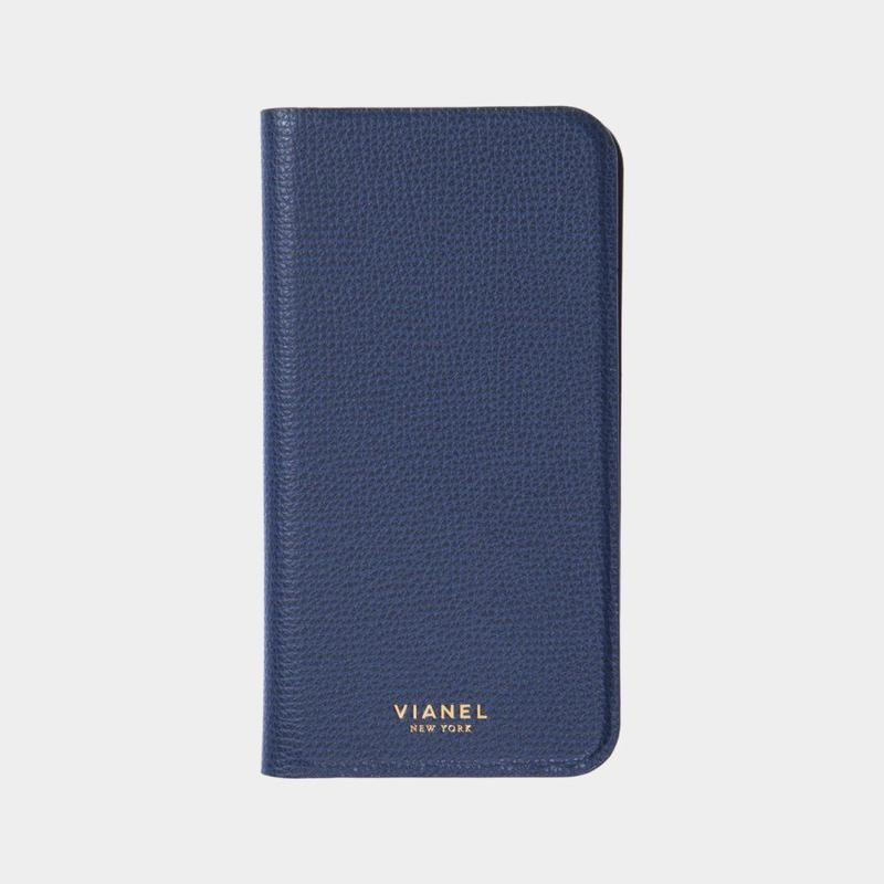 VIANEL NEW YORK / Folding iPhone Xs/X Case - Calfskin navy