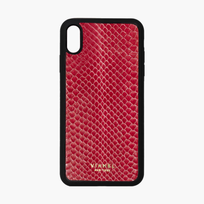 VIANEL NEW YORK / Flex iPhone Xs MAX Case  - Snakeskin Fuschia with Silver Splash