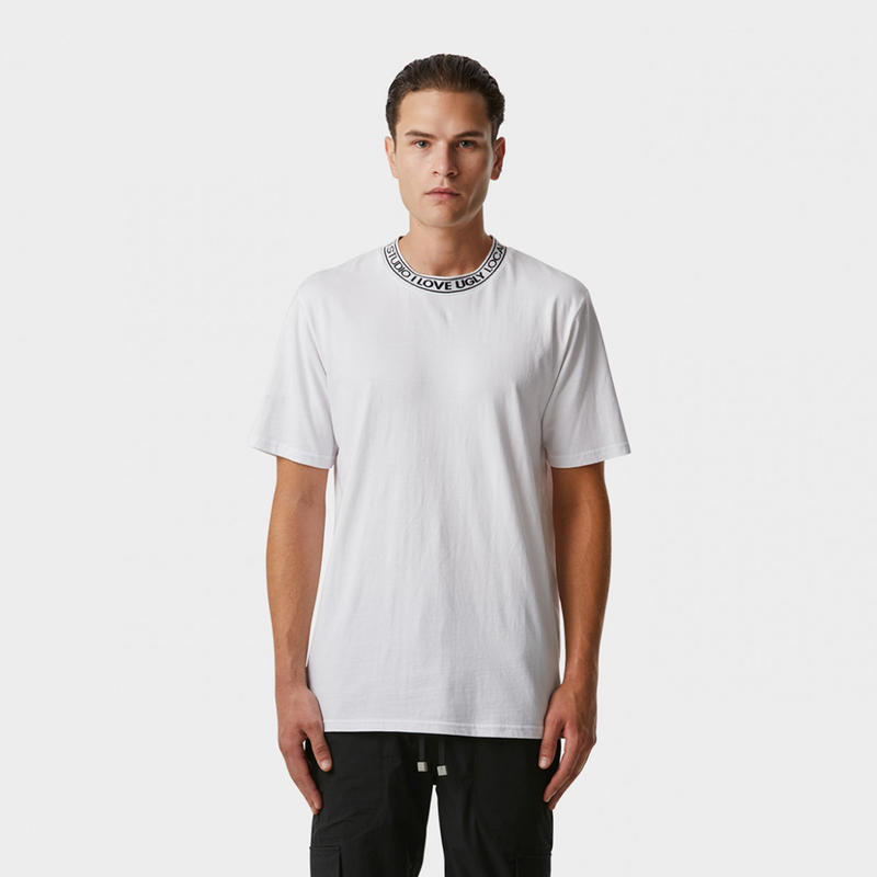 I LOVE UGLY / NECK LOGO TEE -  WHITE