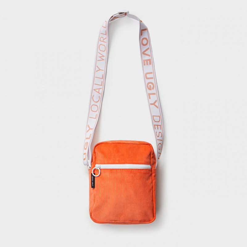 I LOVE UGLY / WALLACE MESSENGER BAG - TANGERINE CORDUROY