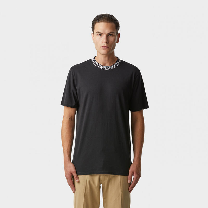 I LOVE UGLY / NECK LOGO TEE -  BLACK
