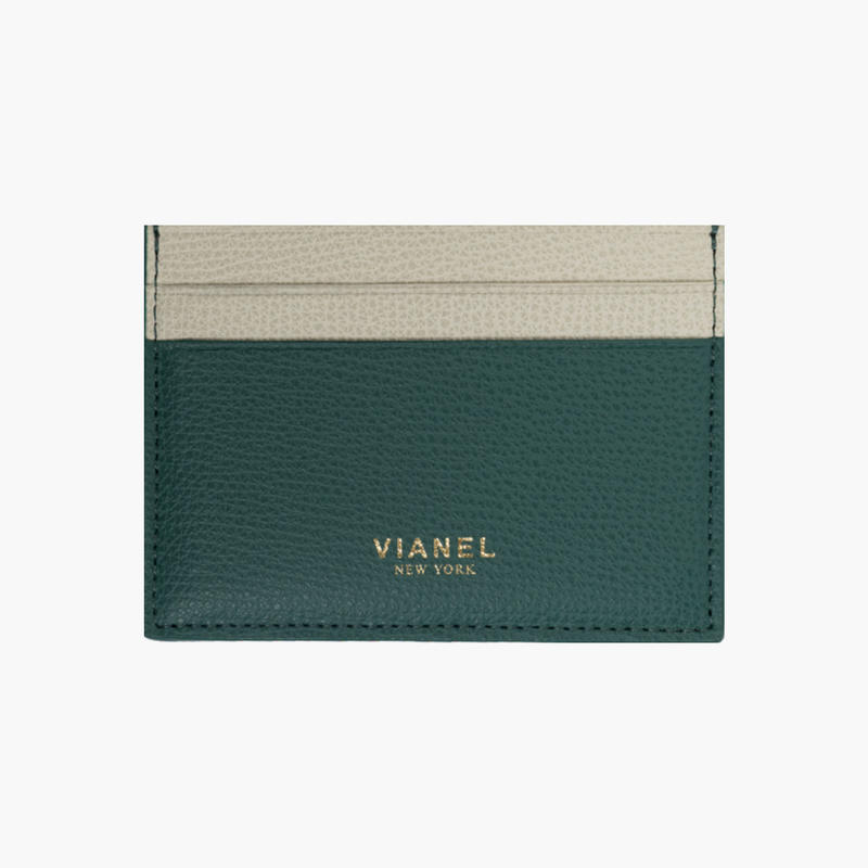 VIANEL NEW YORK /  V3 CARD HOLDER - Carfskin Avocado / Crème