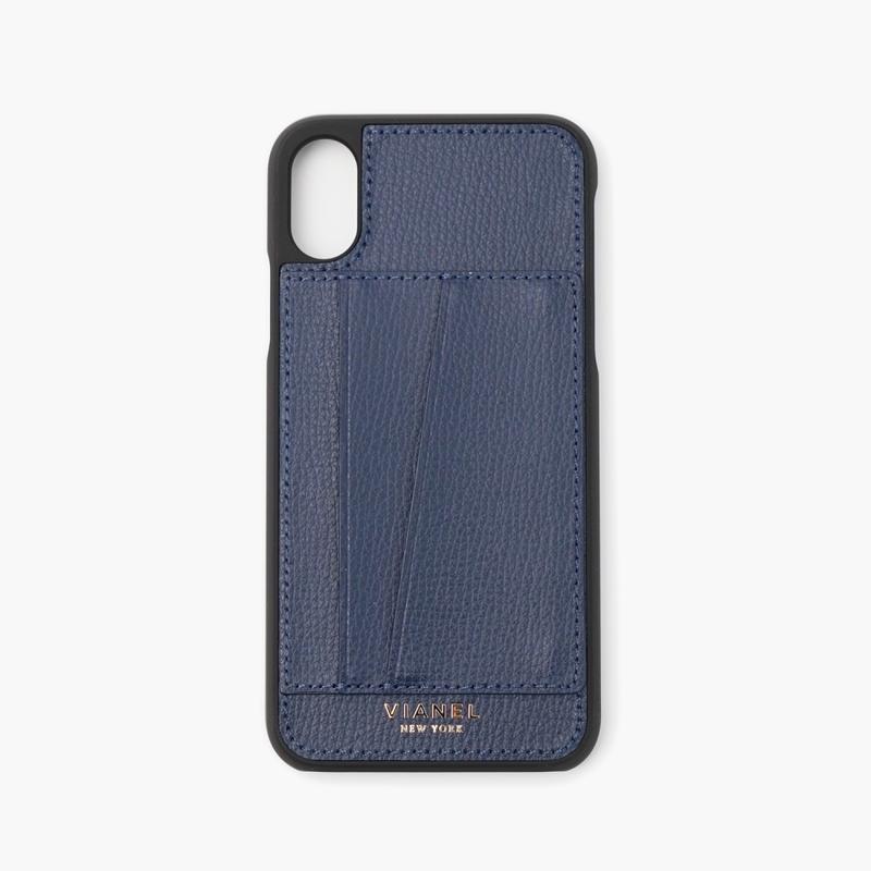 VIANEL NEW YORK Card Holder iPhone Xs/X Case - CALFSKIN NAVY