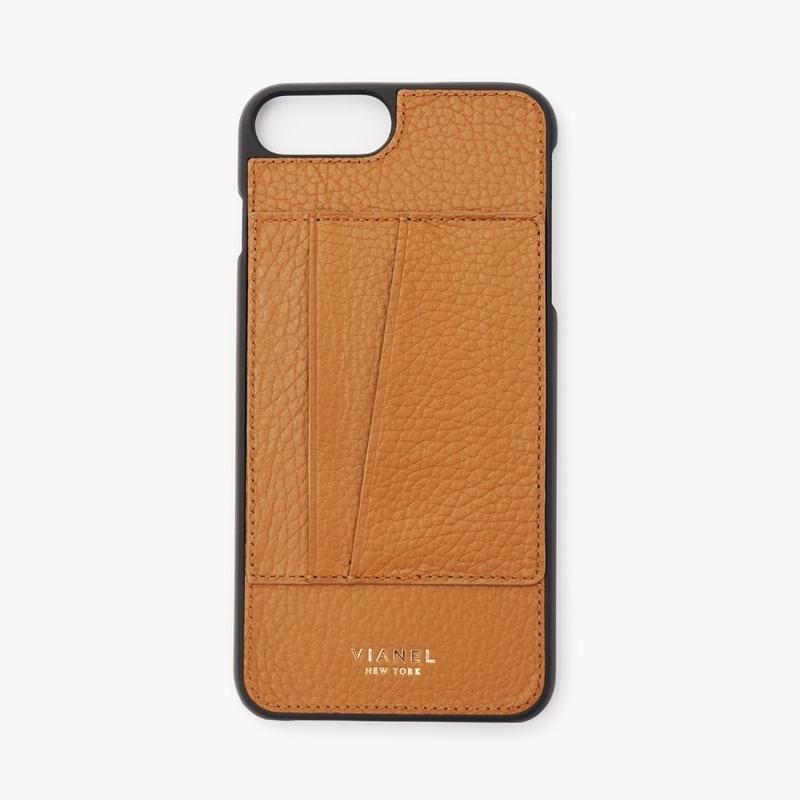 VIANEL NEW YORK Card Holder iPhone 8Plus/7Plus Case - CALFSKIN TAN