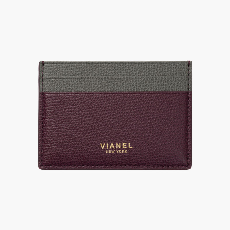 VIANEL NEW YORK /  V3 CARD HOLDER - Carfskin Oxblood / Grey