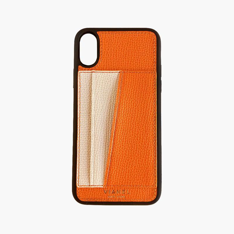 VIANEL NEW YORK / iPhone X/XS Flex Case - Calfskin Orange / Crème