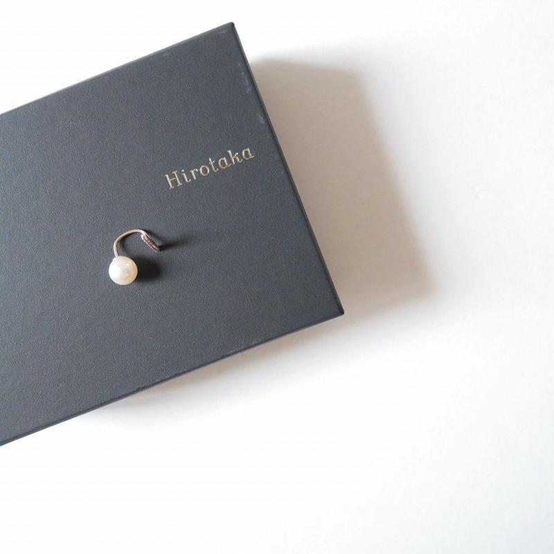 Hirokata ピアス Diamond Short Bar with Pearl Backing(右耳用)
