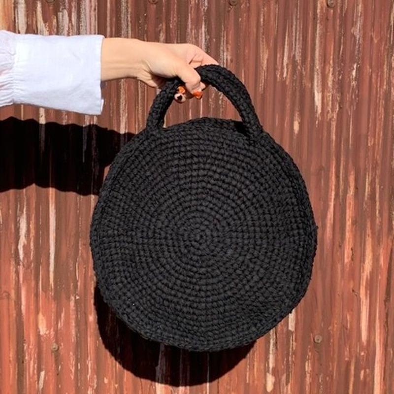 ラウンドバッグ (裂き編みバッグ)  Mサイズ