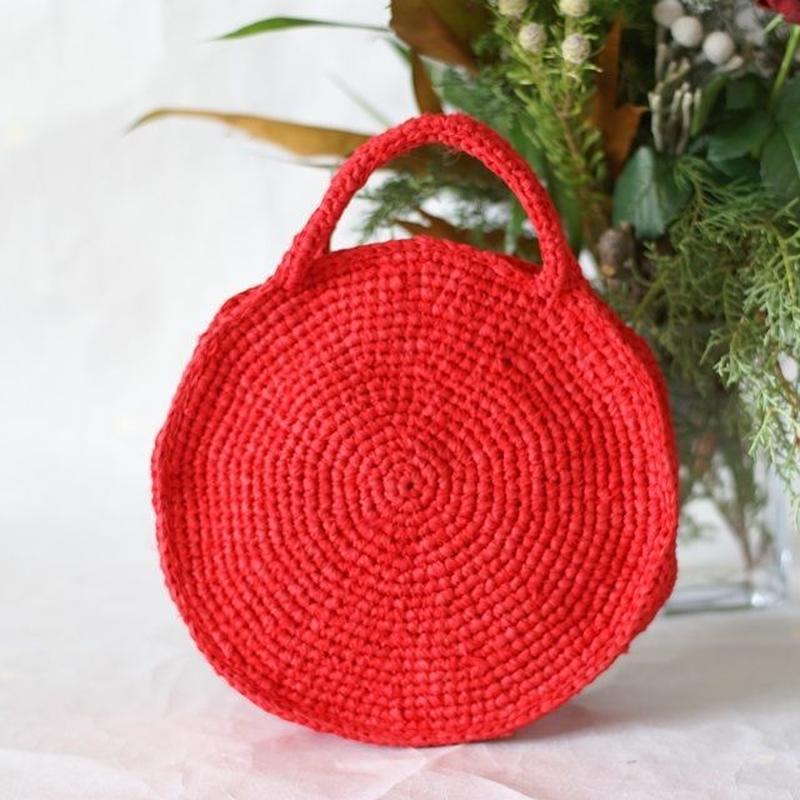 ラウンドバッグ (裂き編みバッグ) 小ぶりサイズ