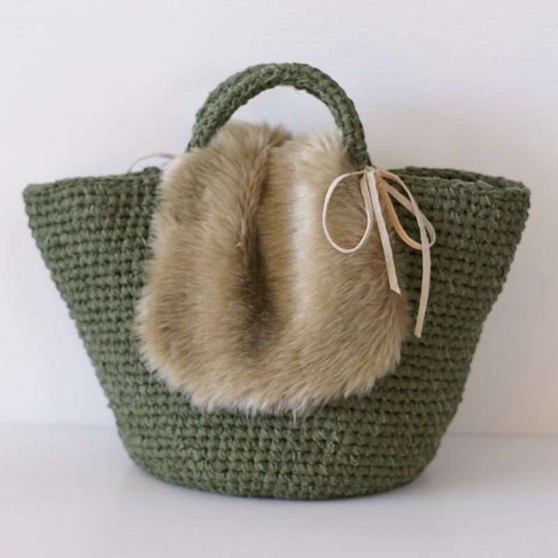 【取り外し可】フェイクファー付き裂き編みバッグ