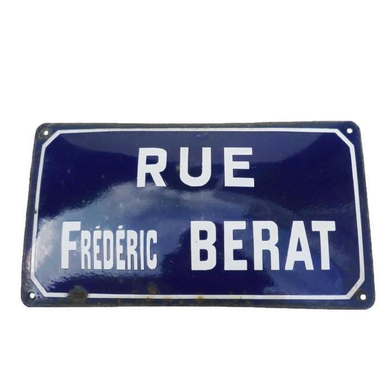 "France エナメル標識 "" Rue Frederic Berat """