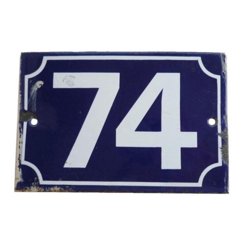 """France   """"74"""" 小さくて青いエナメル看板"""