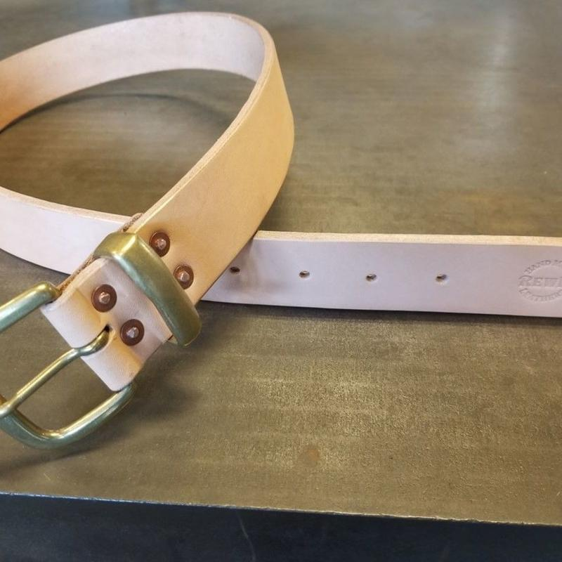 REW10 LEATHERS RIVETED BELT 40mm NATURAL