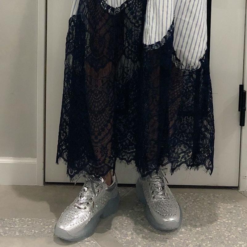 clear sole  gritter sneaker (silver)