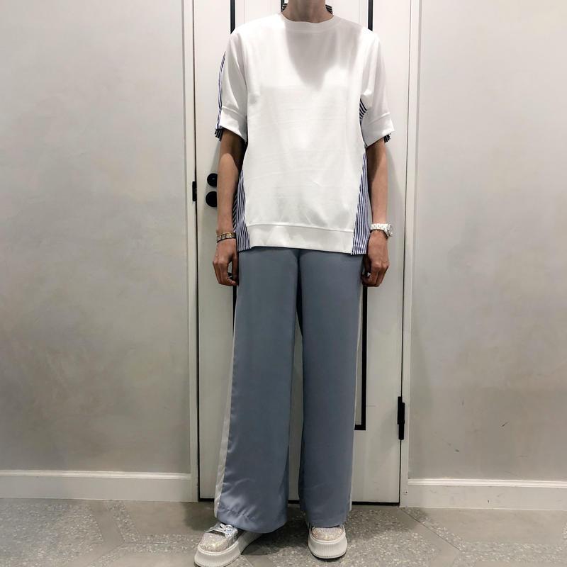 sporty line satin pants (blue)