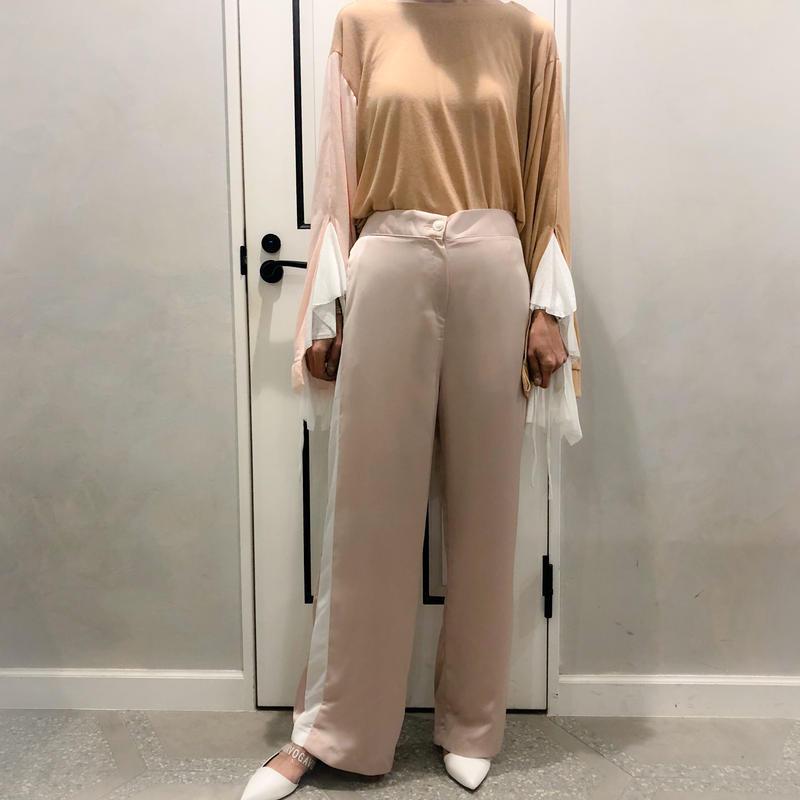 sporty line satin pants (pink)