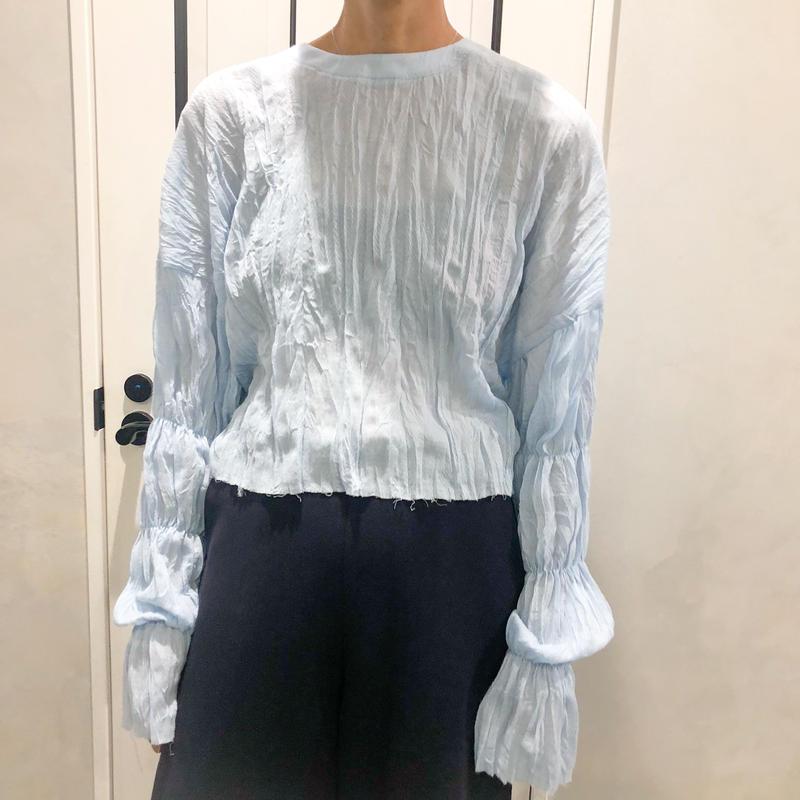 back lace up tshirt (blue)
