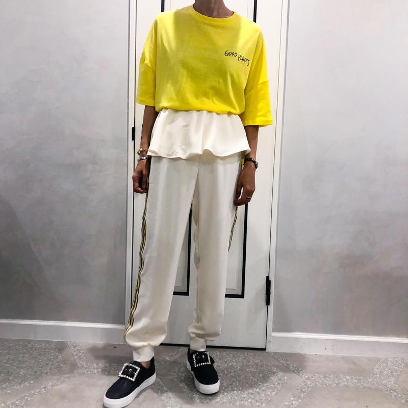 waist ruffle pants(white)
