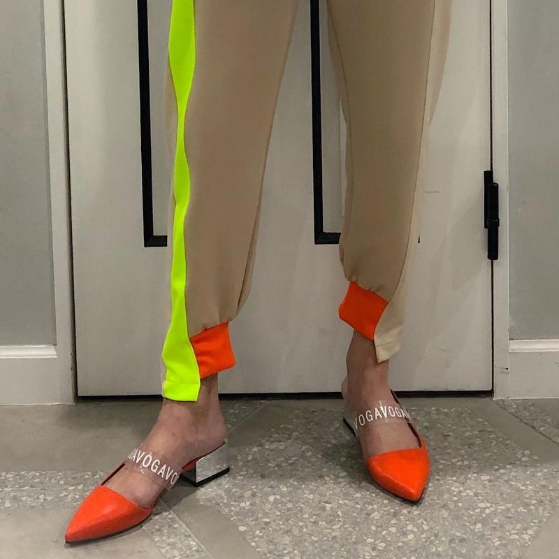 clear band heel shoes (orange)
