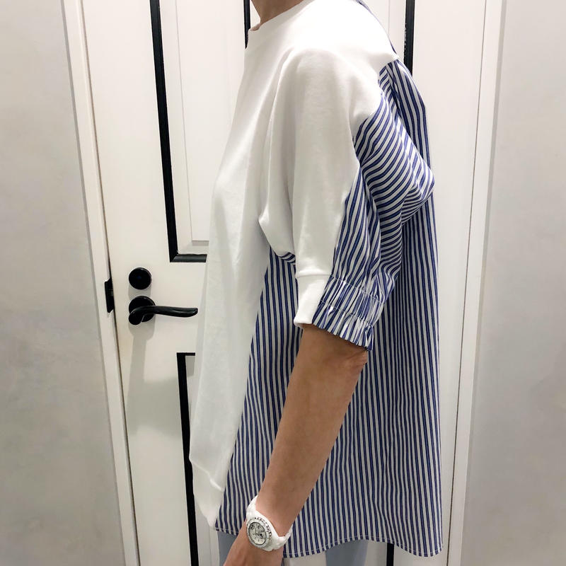 switching tshirt (white × stripe)