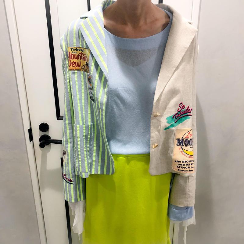 unique design linen jacket (lime × beige)