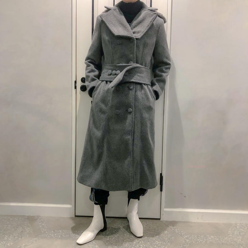 fur & belt set long coat
