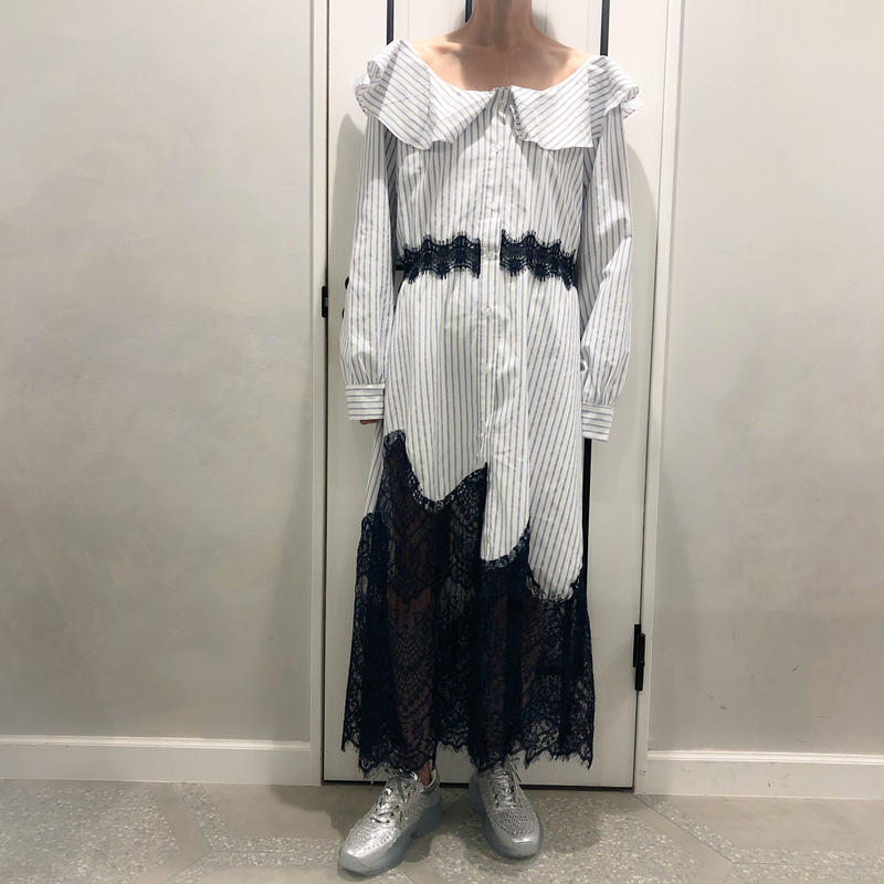 lace × stripe long onepiece