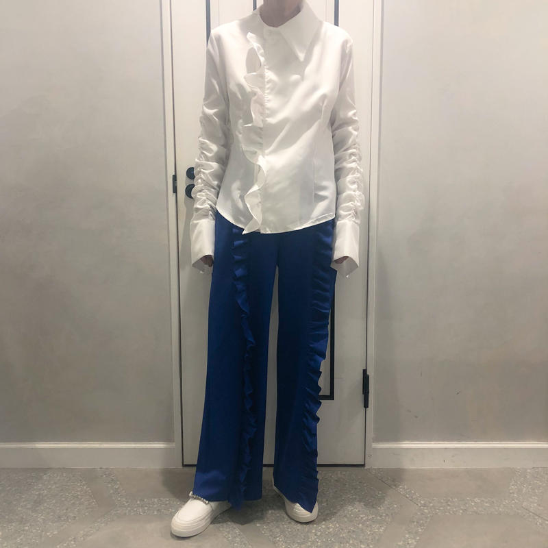 relax frill pants (blue)