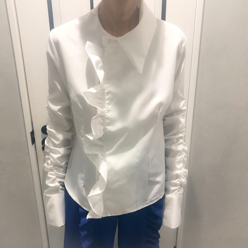 big frill shirring shirt (white)