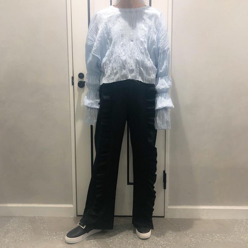 relax frill pants (black)
