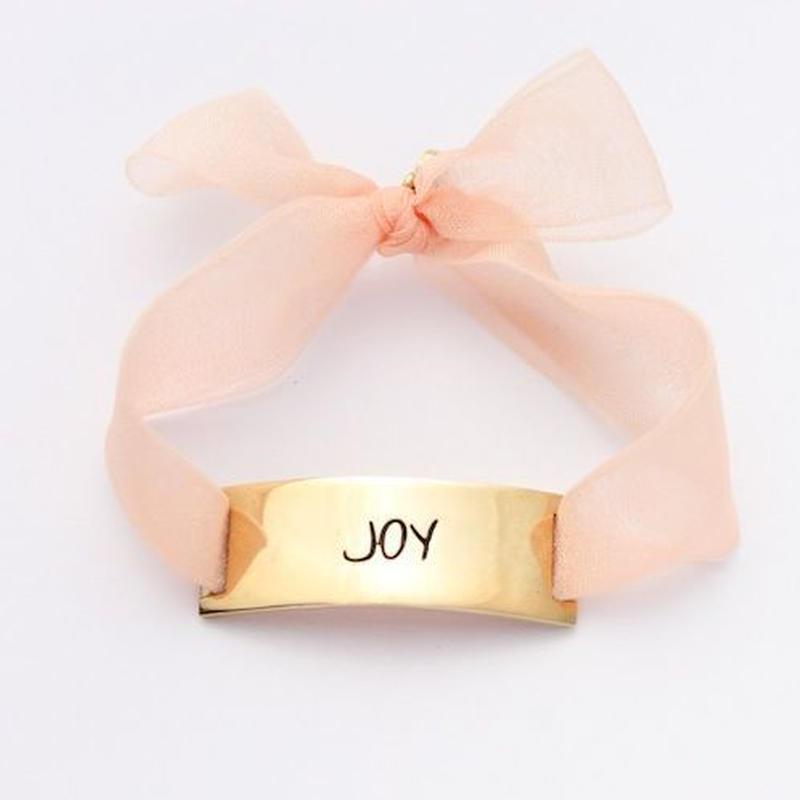 "Charm Bracelet ""Joy"" - Gold - Organdy ribbon"