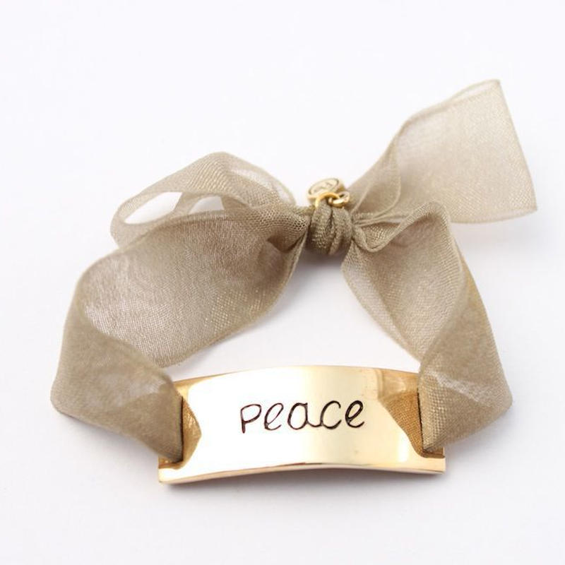 "Charm Bracelet ""Peace"" - Gold - Organdy ribbon"
