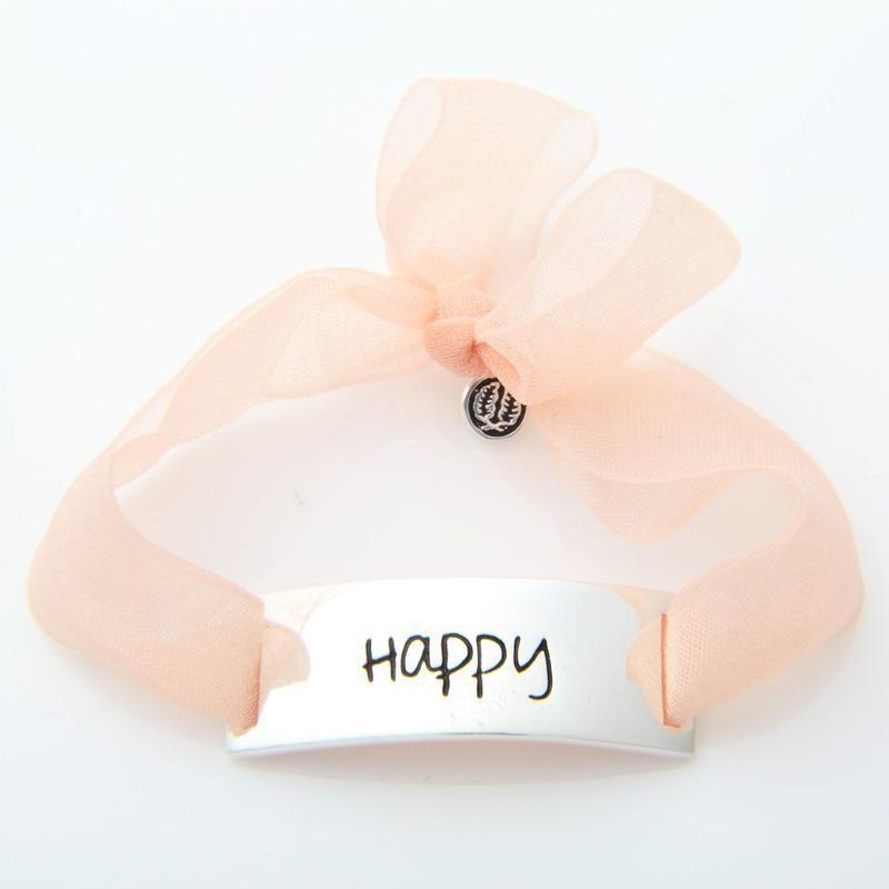 "Charm Bracelet ""Happy"" - Silver - Organdy ribbon"