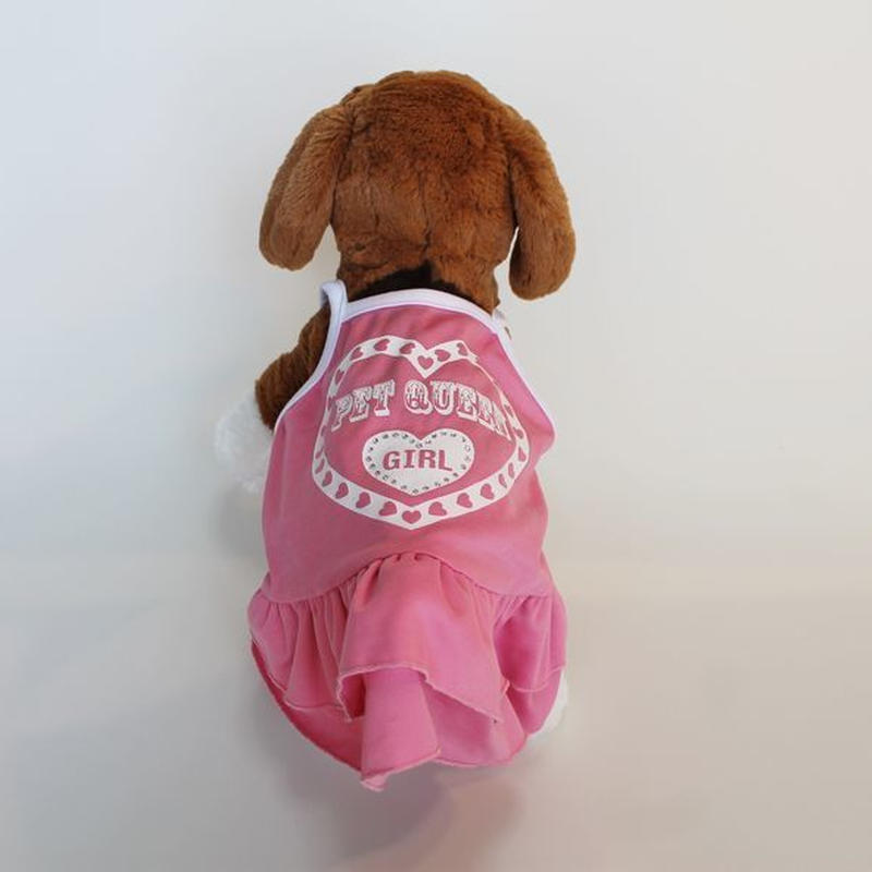 ドッグウエア★小型犬★ピンクフリル&ハートロゴワンピース