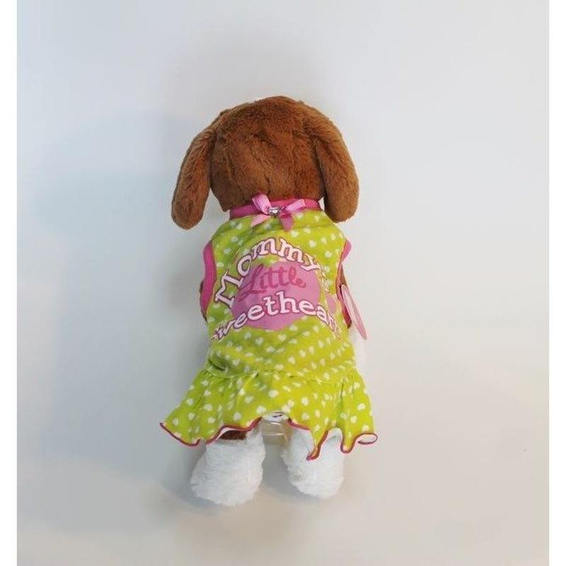 ドッグウエア★小型犬★イエローグリーン&ハート柄フリルワンピース