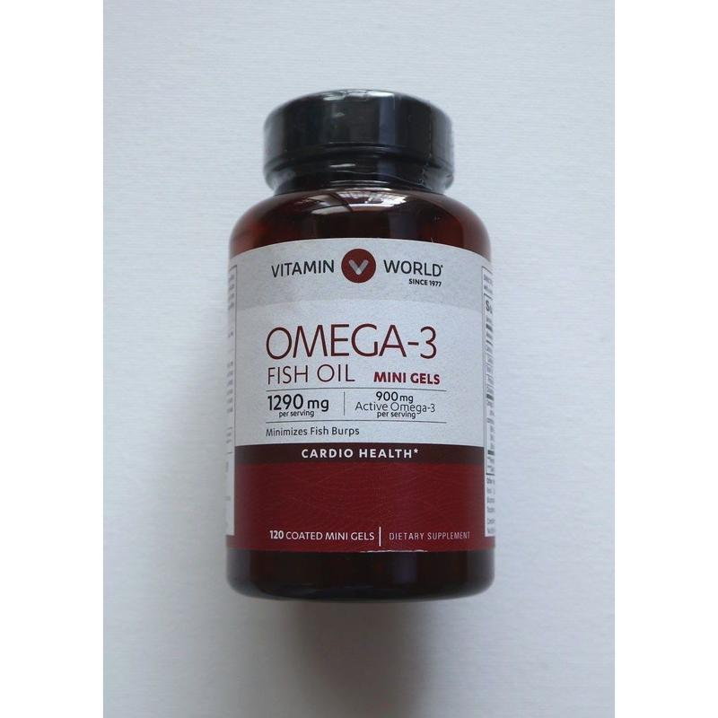 OMEGA-3★オメガ3 フィッシュオイル DHA EPA サプリメント 1290mg 120錠入り