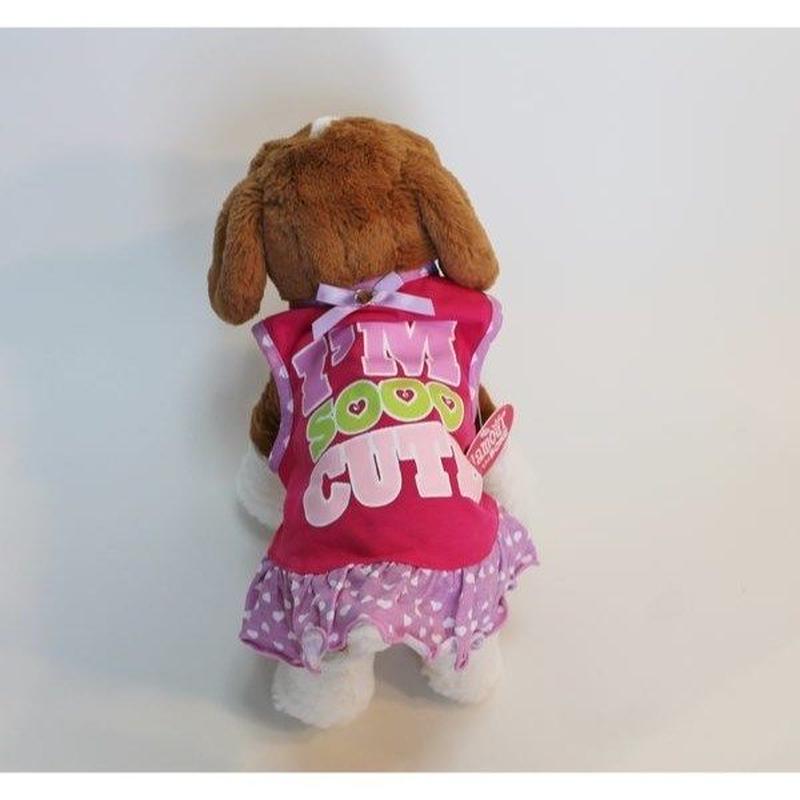 ドッグウエア★小型犬★ピンク&パープルハート柄フリルワンピース