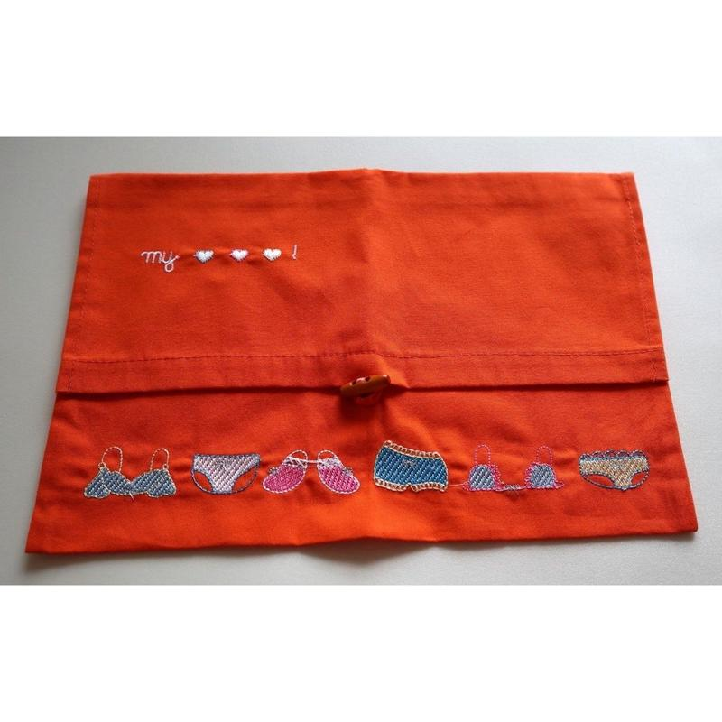 【TOMBO】ベトナム雑貨★可愛い刺繍のランジェリーケース 二つ折り