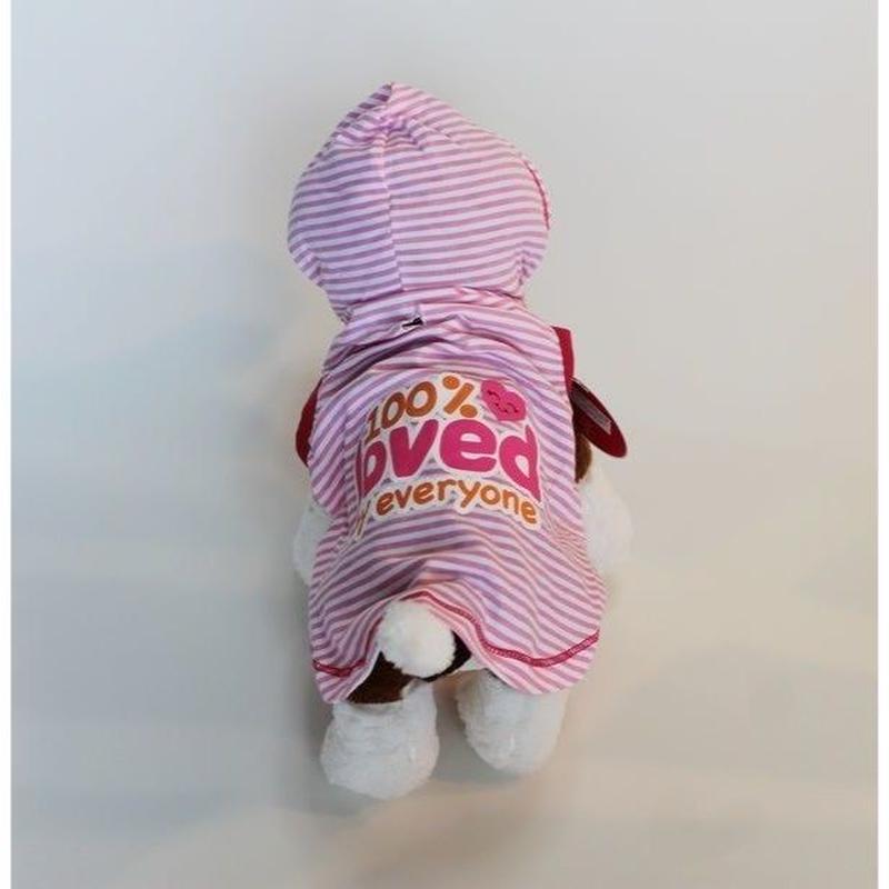 ドッグウエア★小型犬★フード付きピンクストライプワンピース