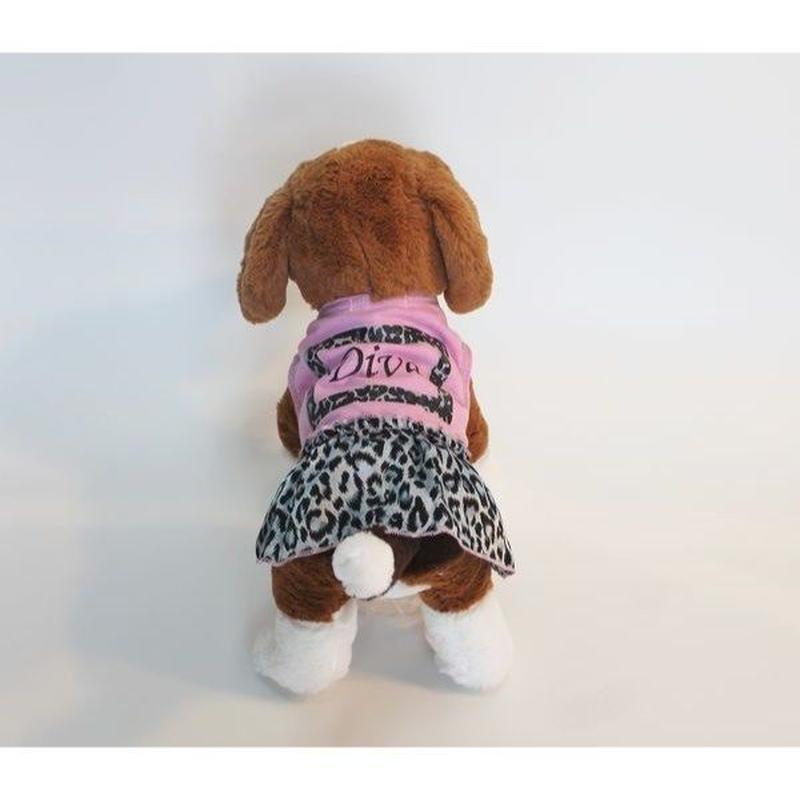 ドッグウエア★小型犬★ヒョウガラ&ピンクフリルワンピース