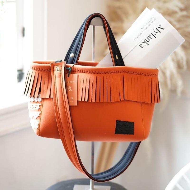 Loss Sandra/fringe tote bag「lace」Orange